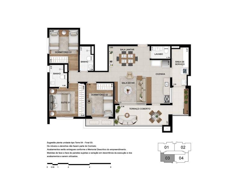 Planta de 103 m² - Opção 1