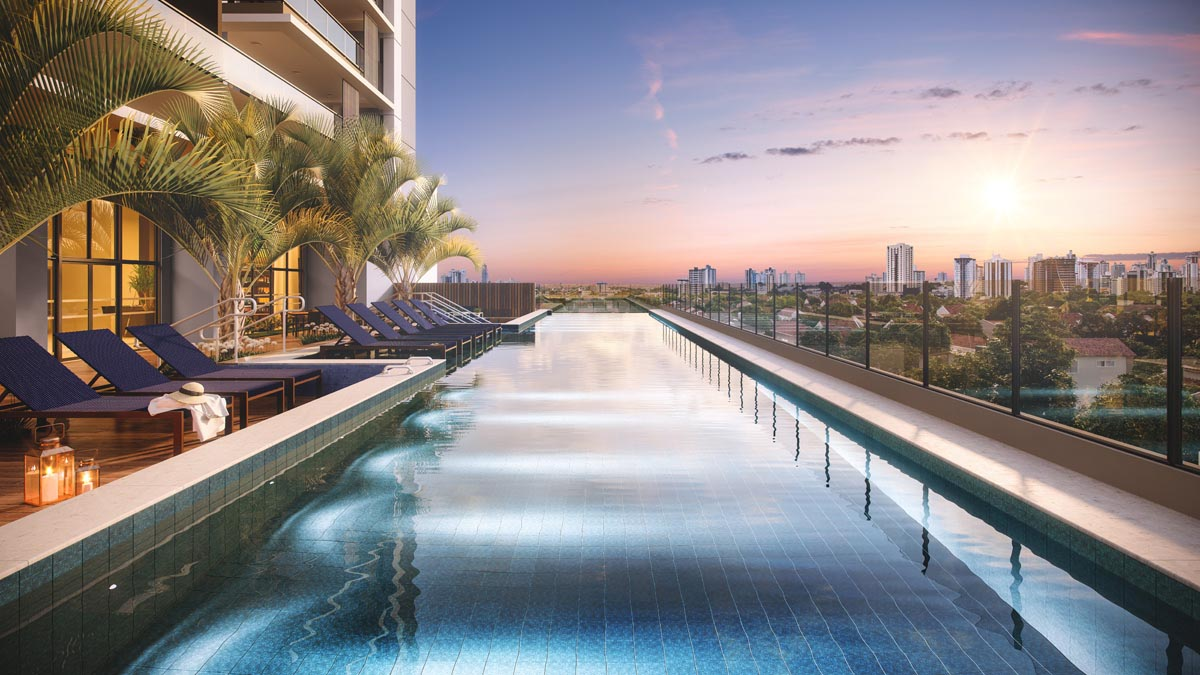 Perspectiva ilustrada da piscina com raia de 25m e borda infinita