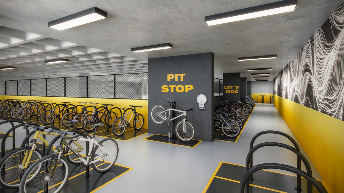Perspectiva ilustrada do bike garage