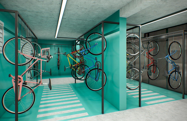 Perspectiva ilustrada do Bicicletário.