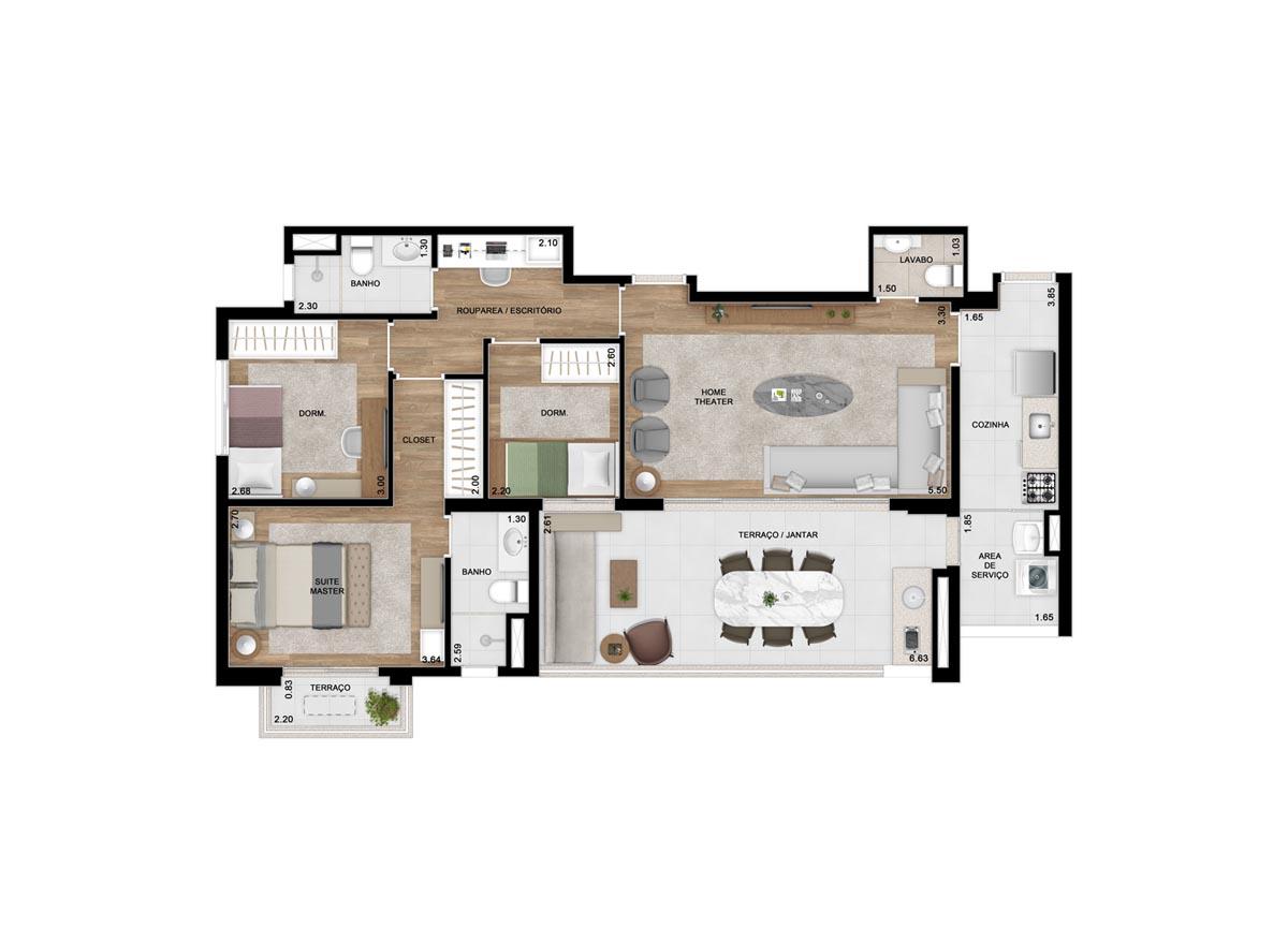 Planta 105m² padrão