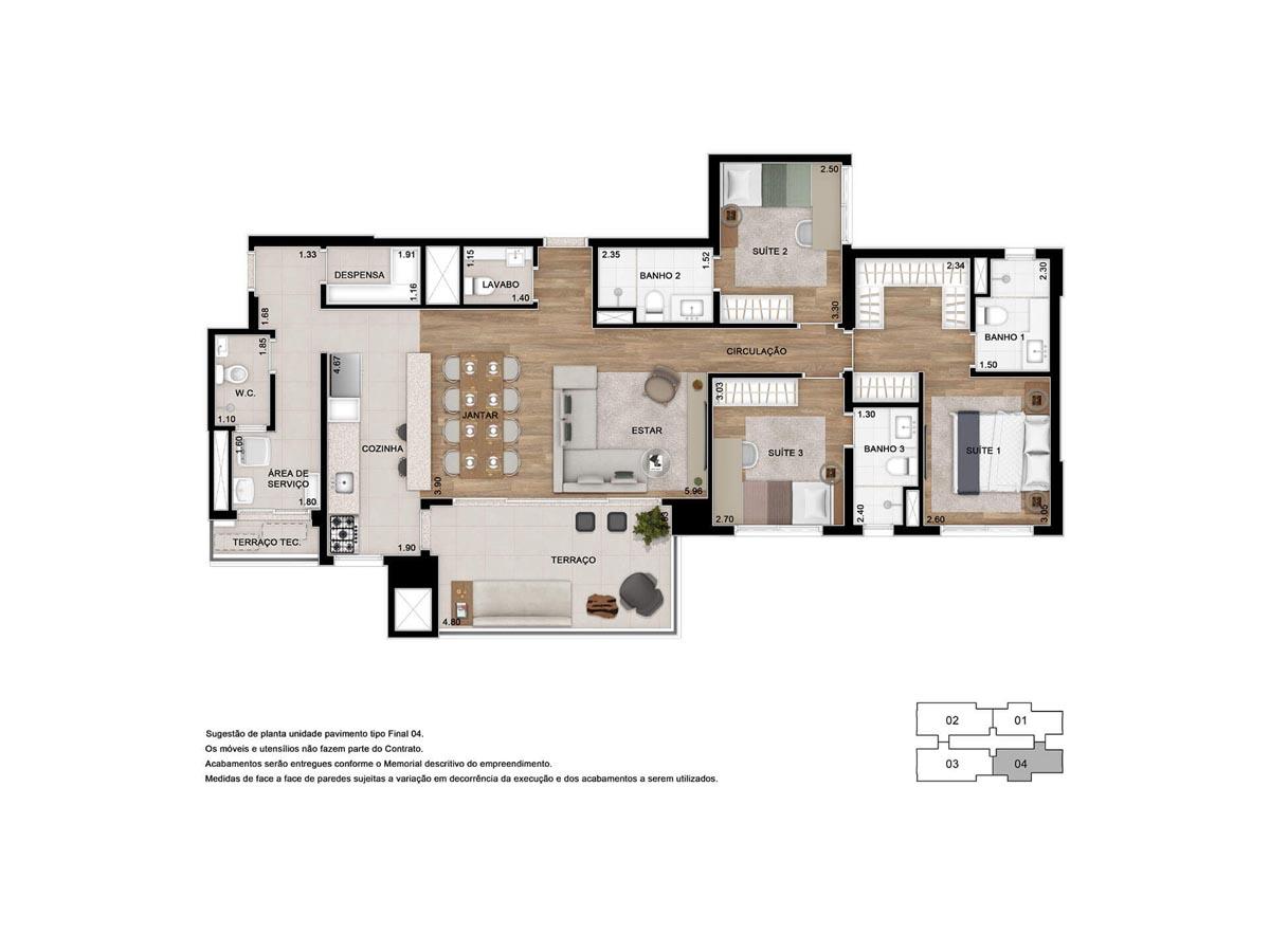Planta de 125m² - 3 suítes - Opção cozinha aberta