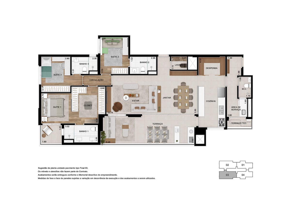 Planta opção decorado 155m² - 3 suítes - Sala ampliada com cozinha aberta