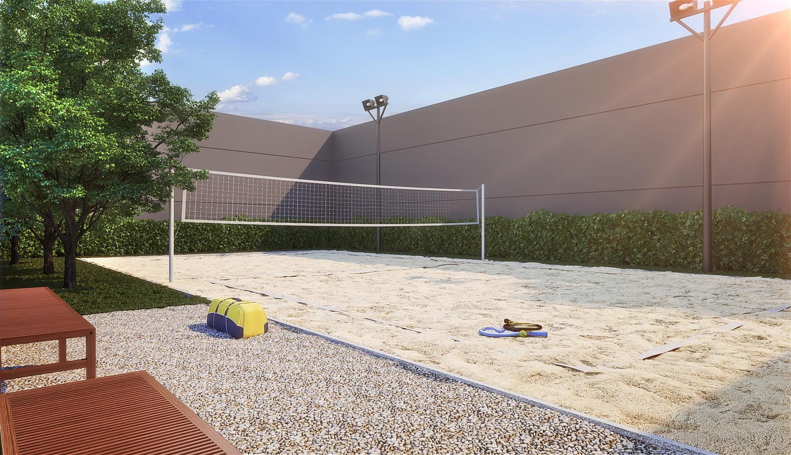 Perspectiva ilustrada do Beach Tennis Grand Duo
