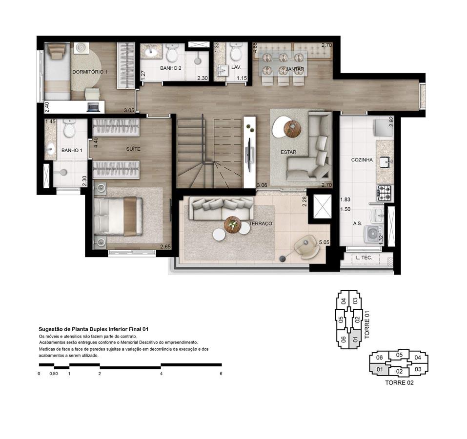Planta Duplex Inferior - 170m²