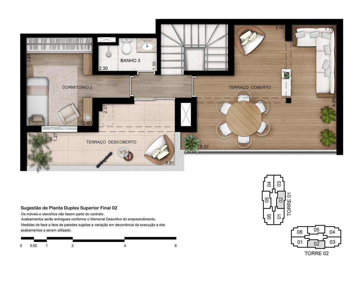 Planta Duplex Superior - 133m²
