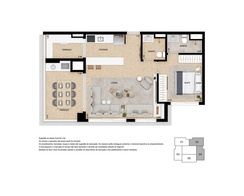 Apto. 70 m² - Sala e Suíte ampliada