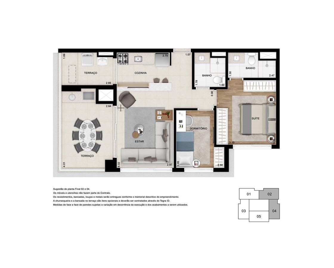 Apto. 70 m² - Suíte ampliada