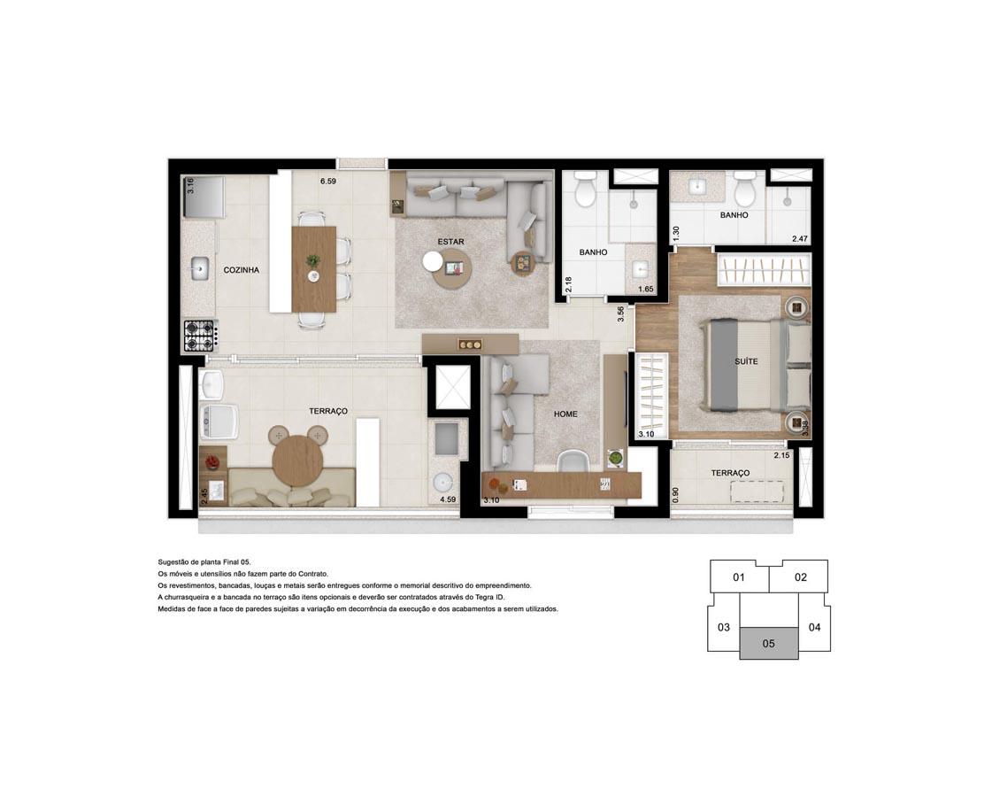 Apto. 71 m² - Sala e Suíte ampliada