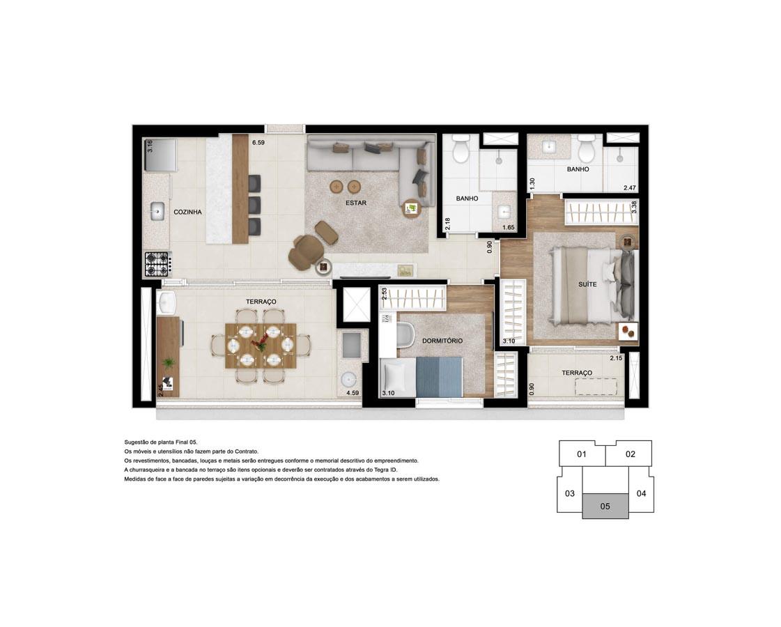 Apto. 71 m² - Suíte ampliada