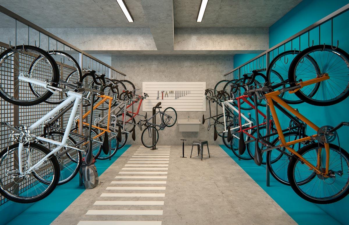 Perspectiva interna Bicicletário