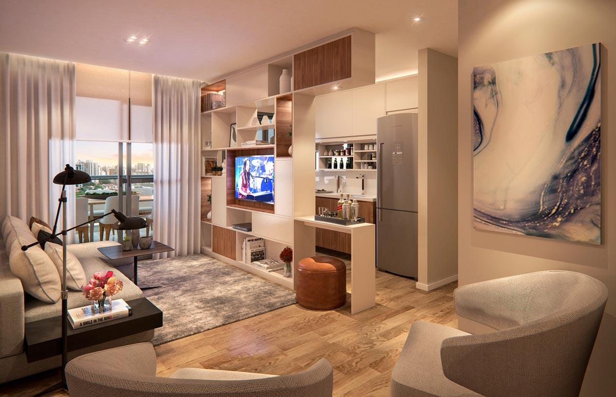 Perspectiva interna living apartamento padrão