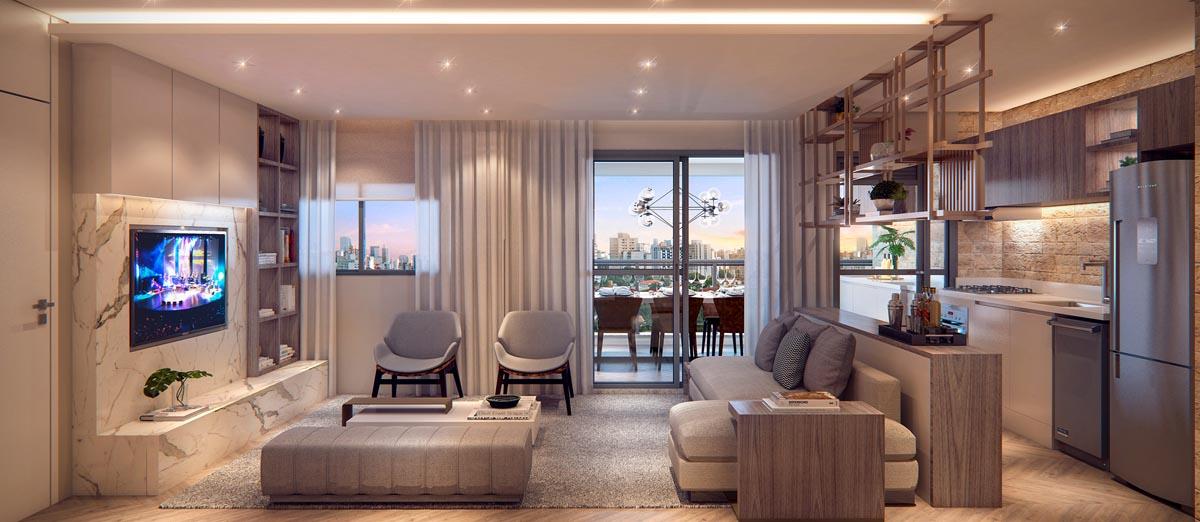 Perspectiva interna living apartamento decorado