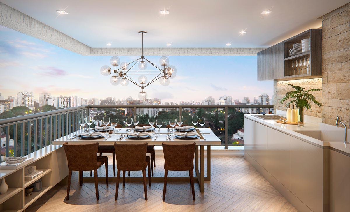 Perspectiva interna terraço apartamento decorado
