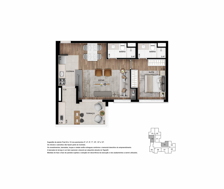 Perspectiva artística da Planta Apartamento Ampliado final 4