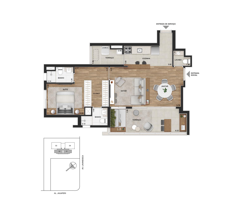 Planta opção sala ampliada - 74m² priv. (1 suíte)