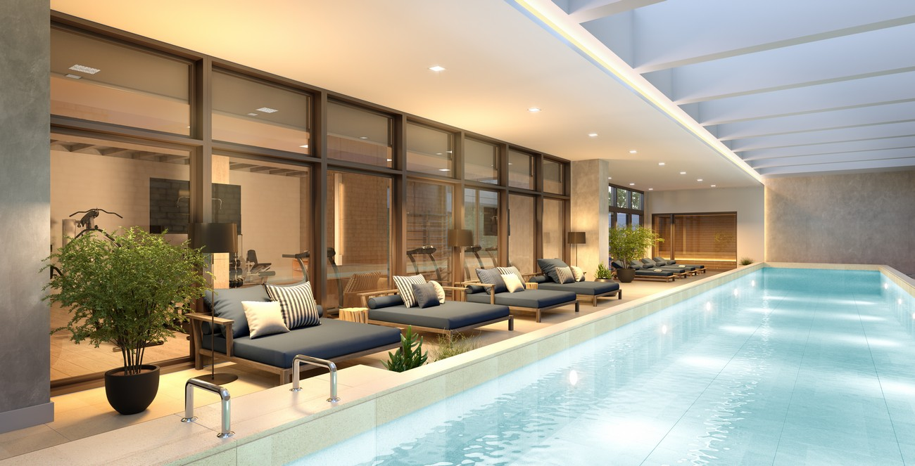 Perspectiva ilustrada da piscina coberta climatizada