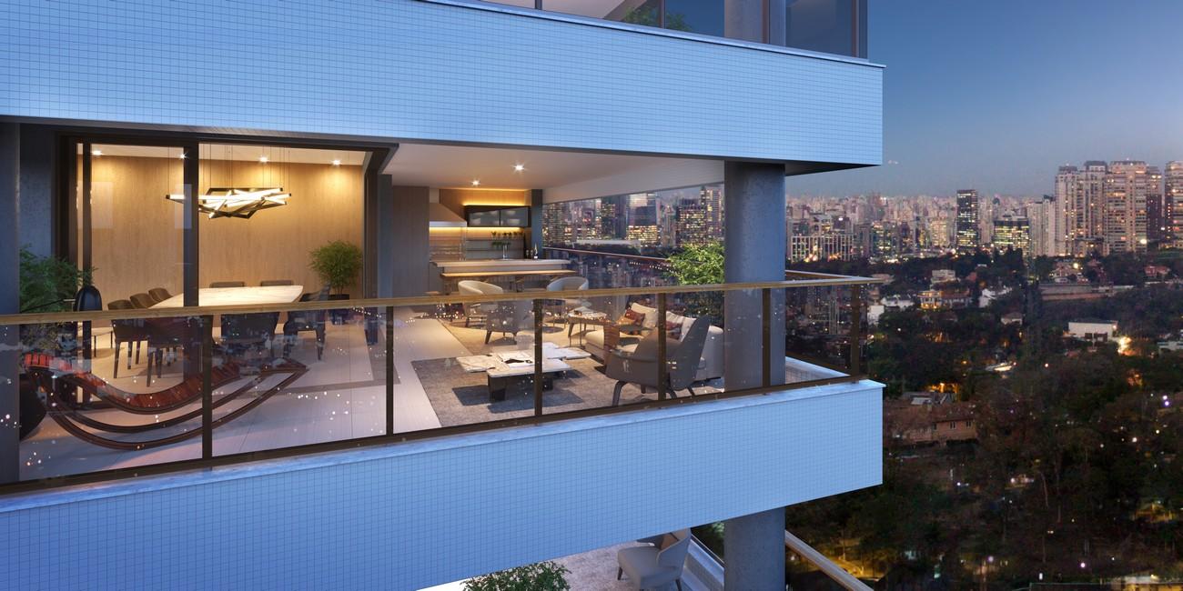 Perspectiva ilustrada do terraço do apto. de 230m² priv.