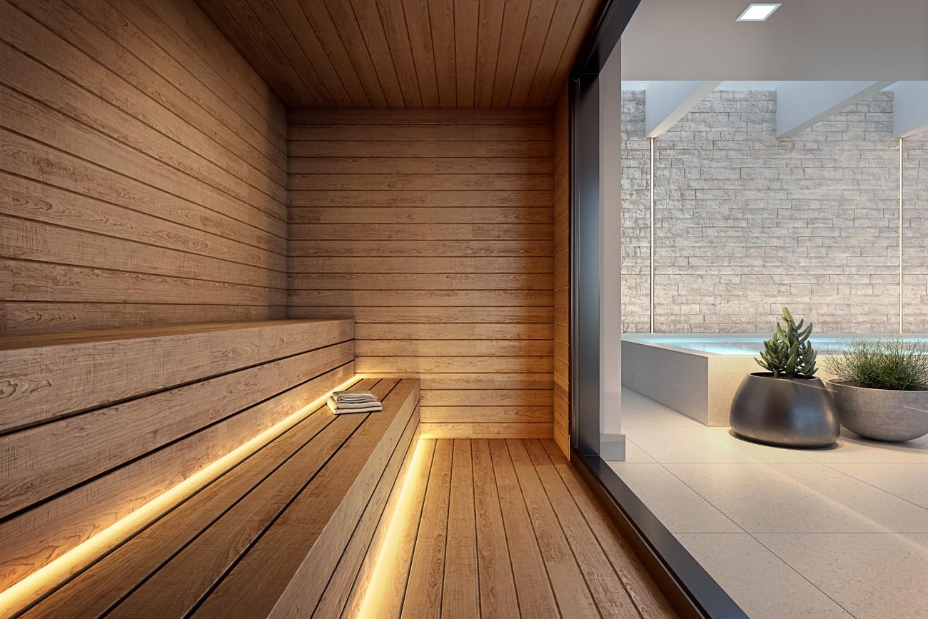 Perspectiva ilustrada da sauna seca