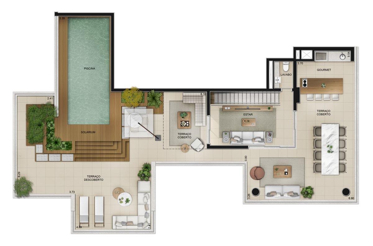 Planta da cobertura Duplex de 416m² (piso superior)