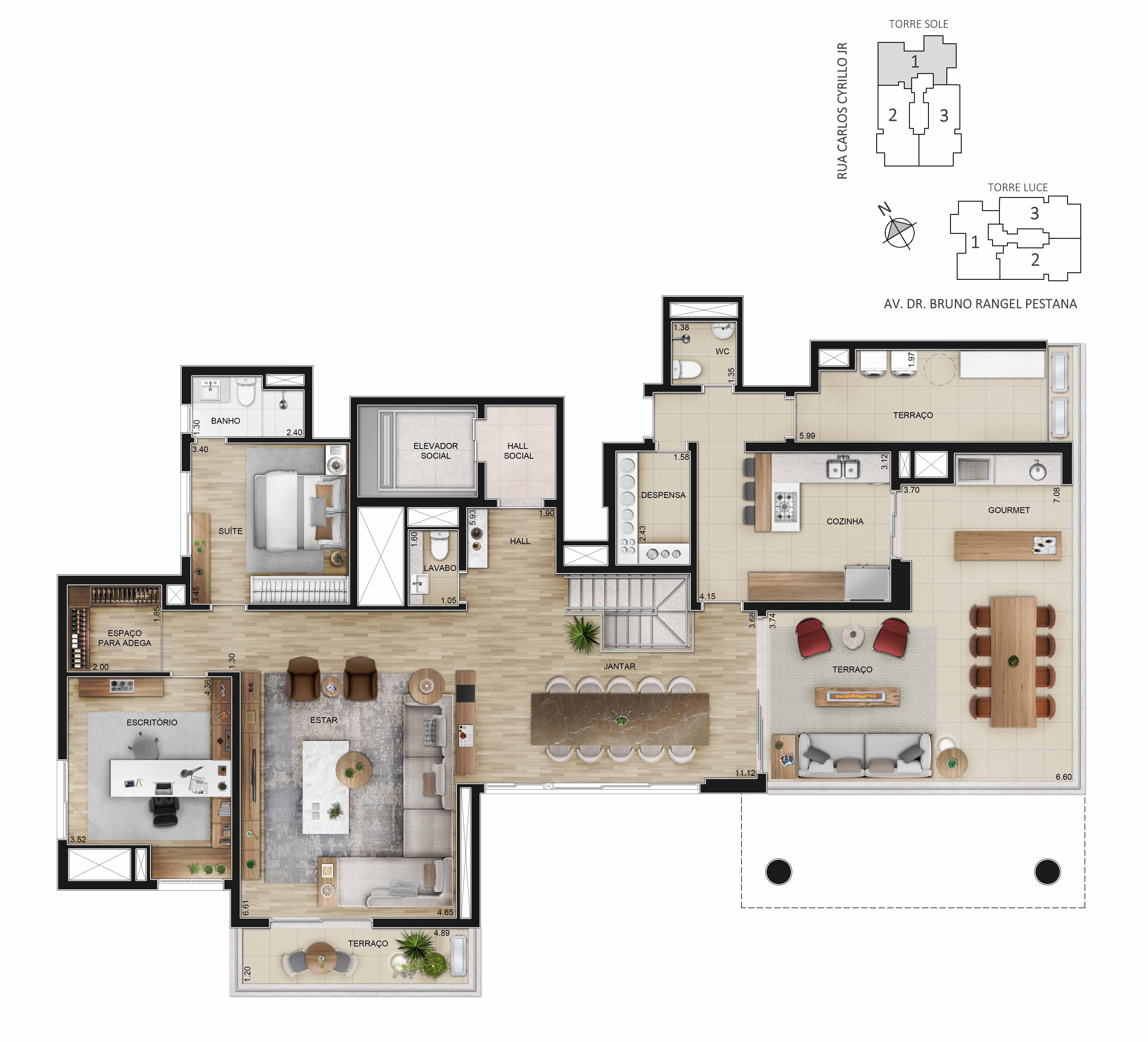 Planta da Townhouse de 377m² (Piso superior) - 4 suítes, escritório, sala íntima e lounge externo