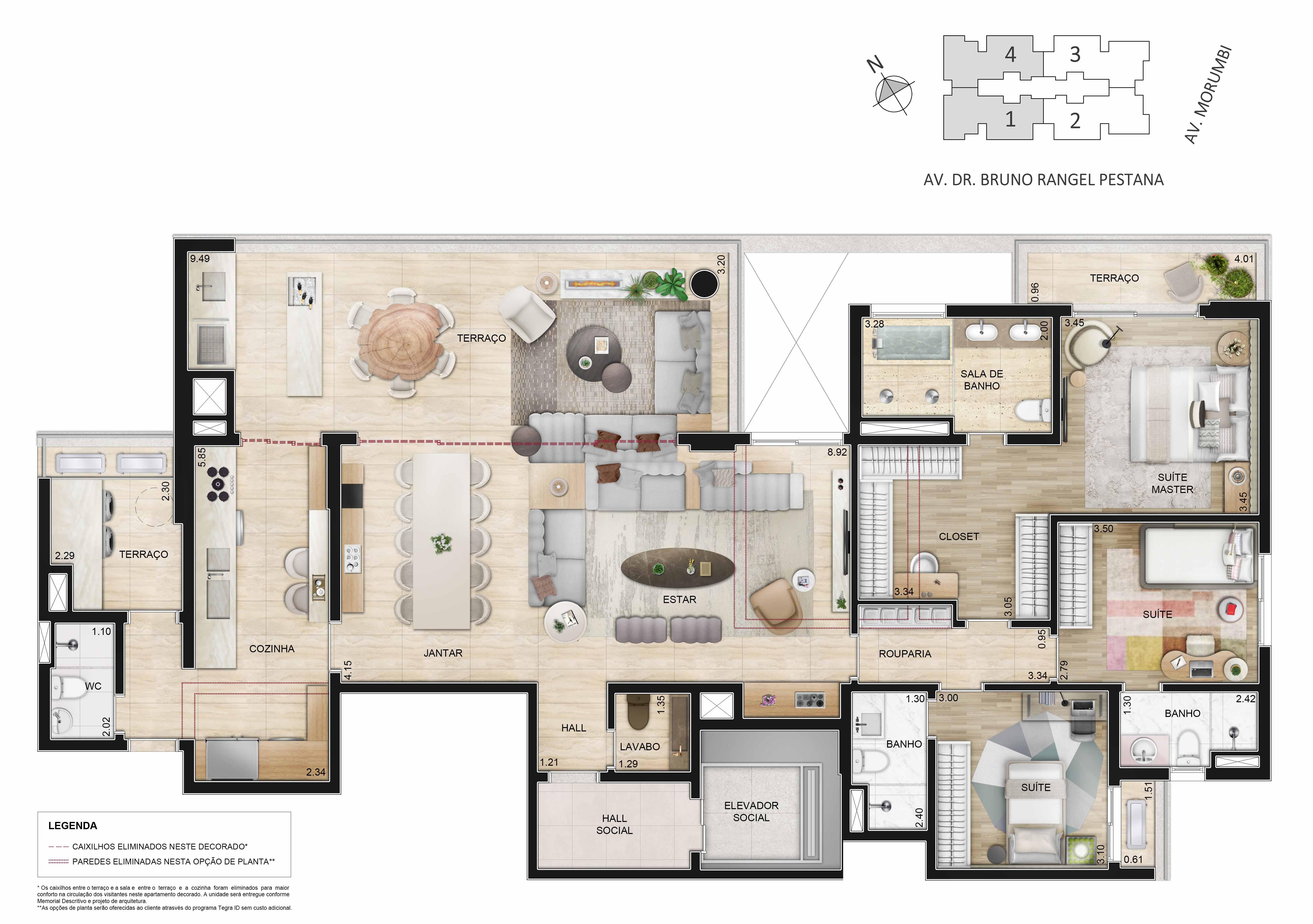 Apartamento de 195m² - 3 suítes, sala ampliada e cozinha com copa.