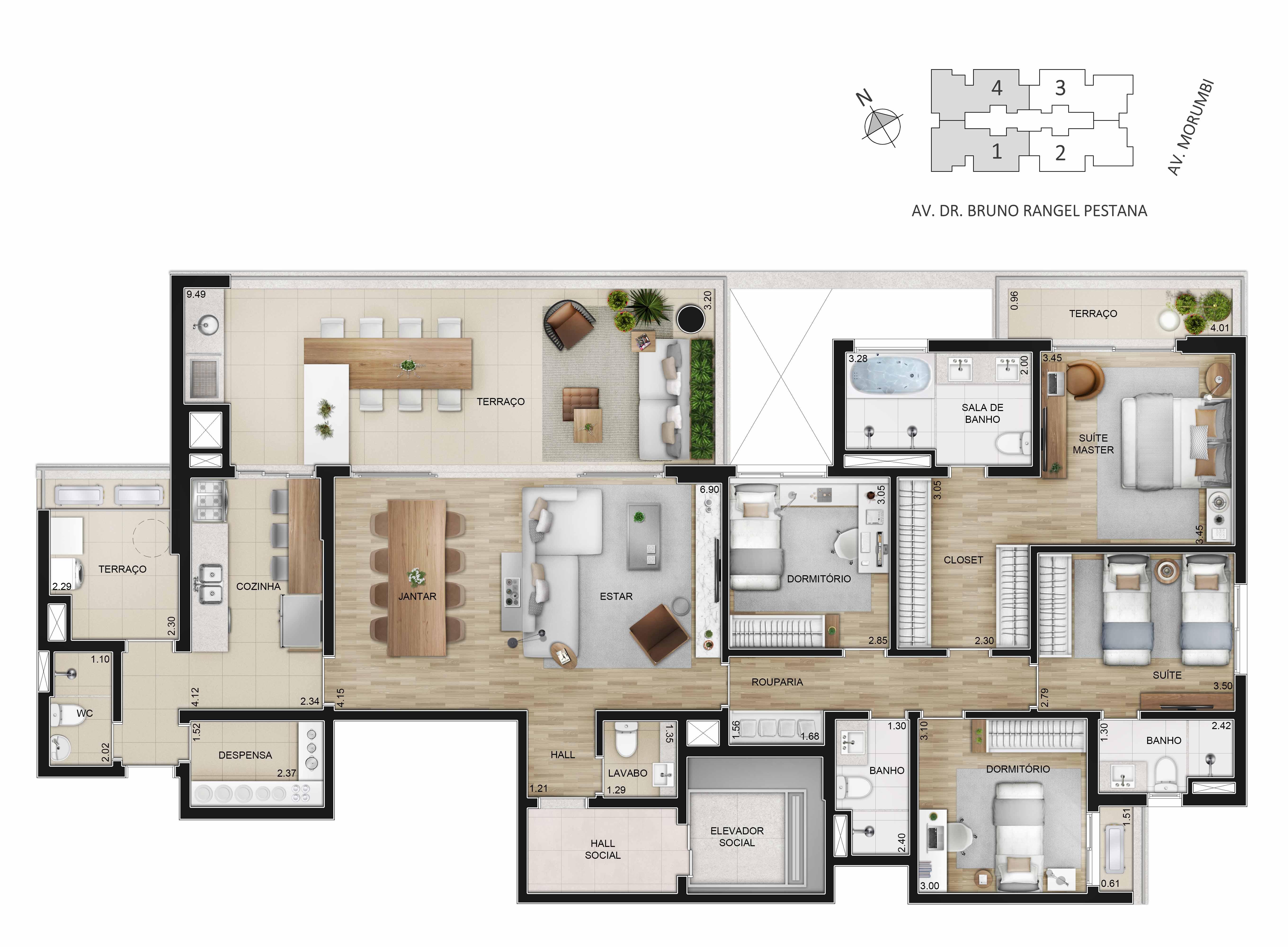 Apartamentos de 195m² padrão - 4 dorms. (2 suítes).