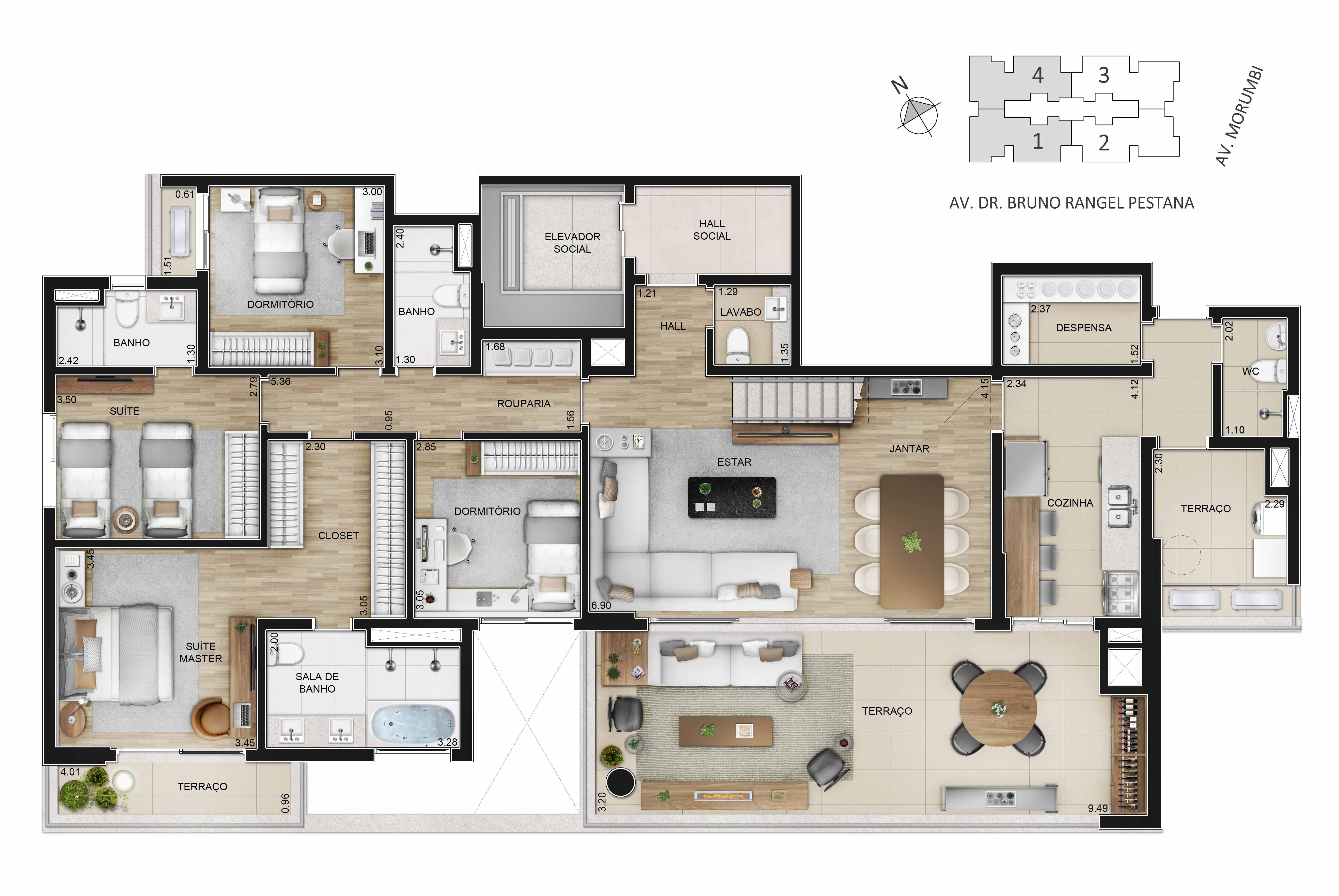 Cobertura duplex de 343m² - piso inferior: 4 dorms. (2 suítes).