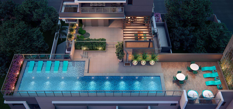 Perspectiva ilustrada da vista aérea da piscina no 8º pavimento