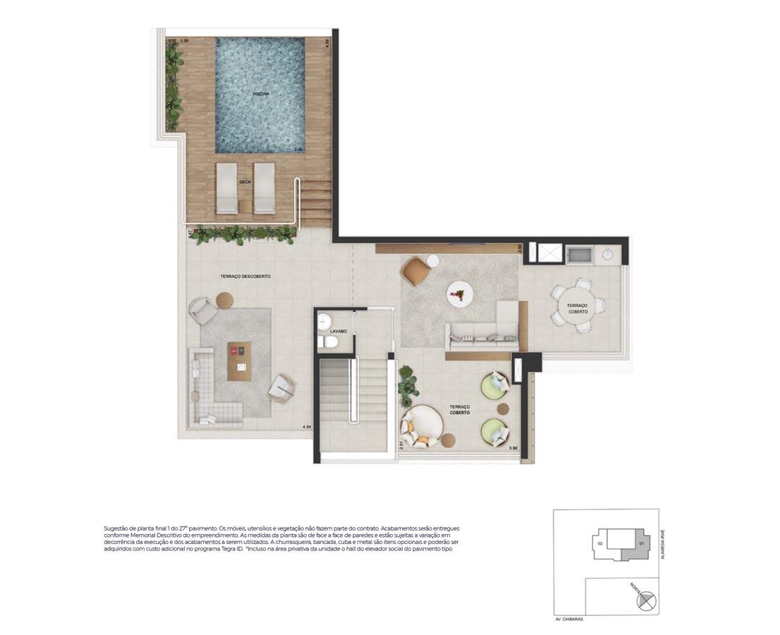 Cobertura Duplex 277m²* - Pavimento superior