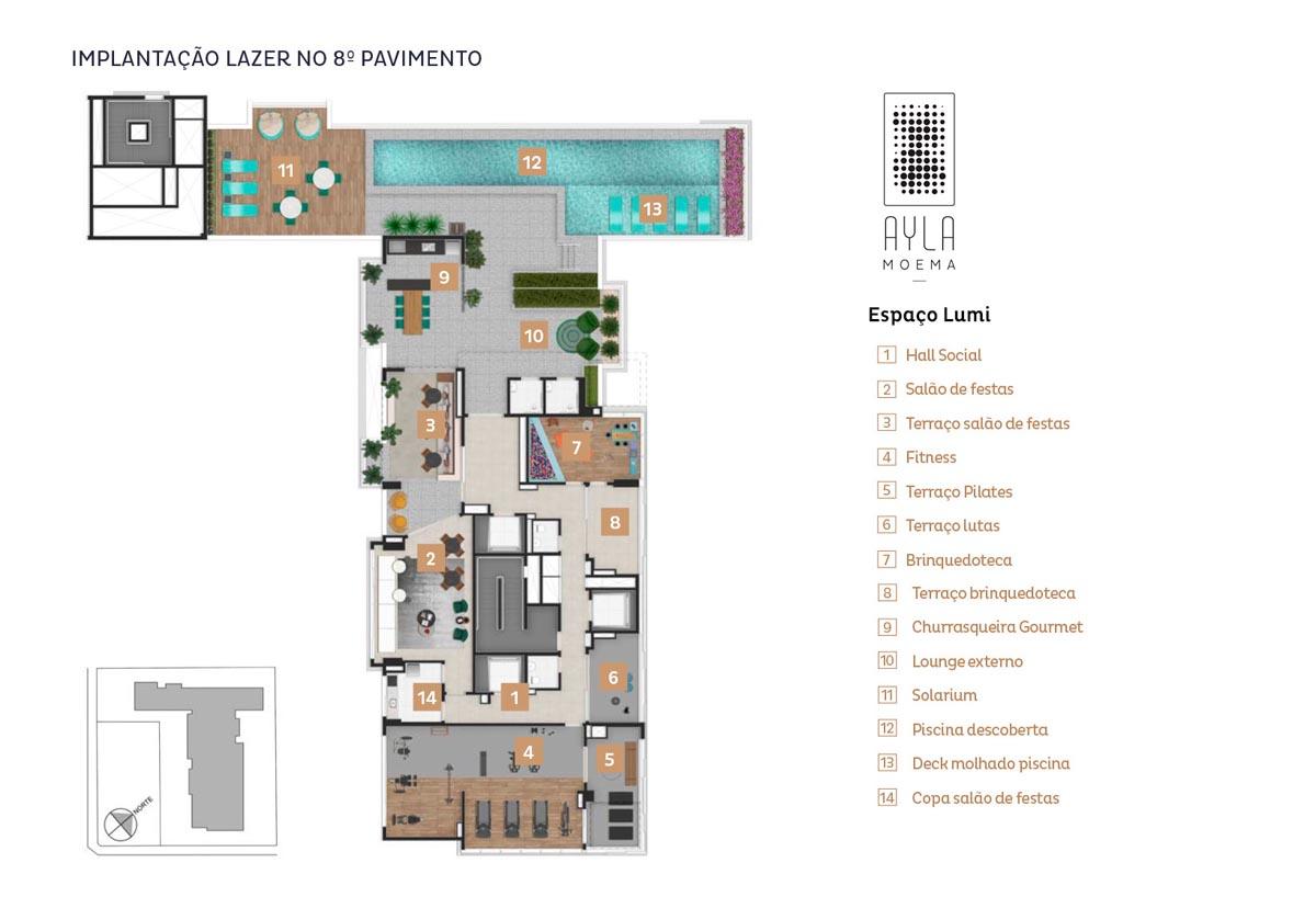 Implantação Ayla Moema Residências - Espaço Lumi: 8.º pavimento