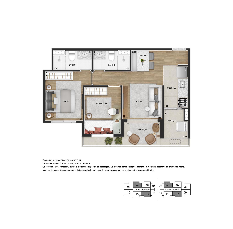 Planta de 55m² priv. com 2 dormitórios