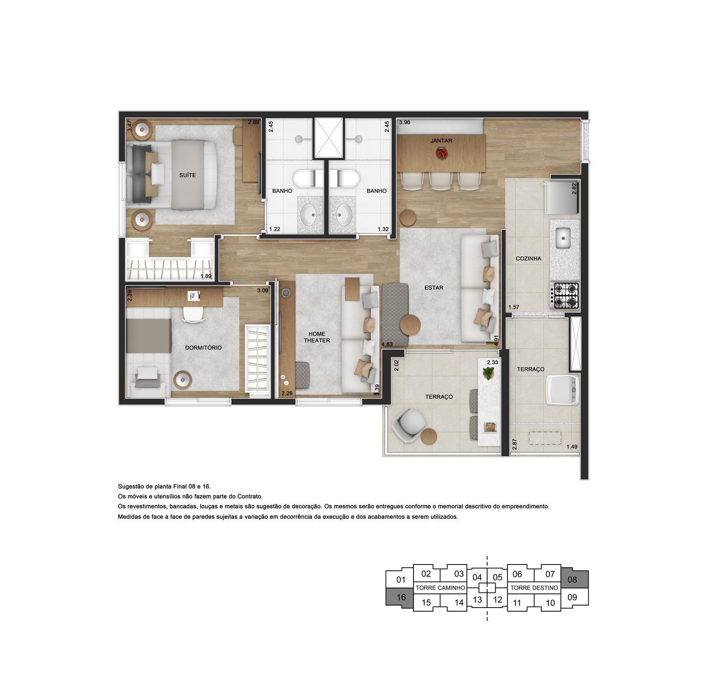 Planta de 66m² priv. com opção sala ampliada