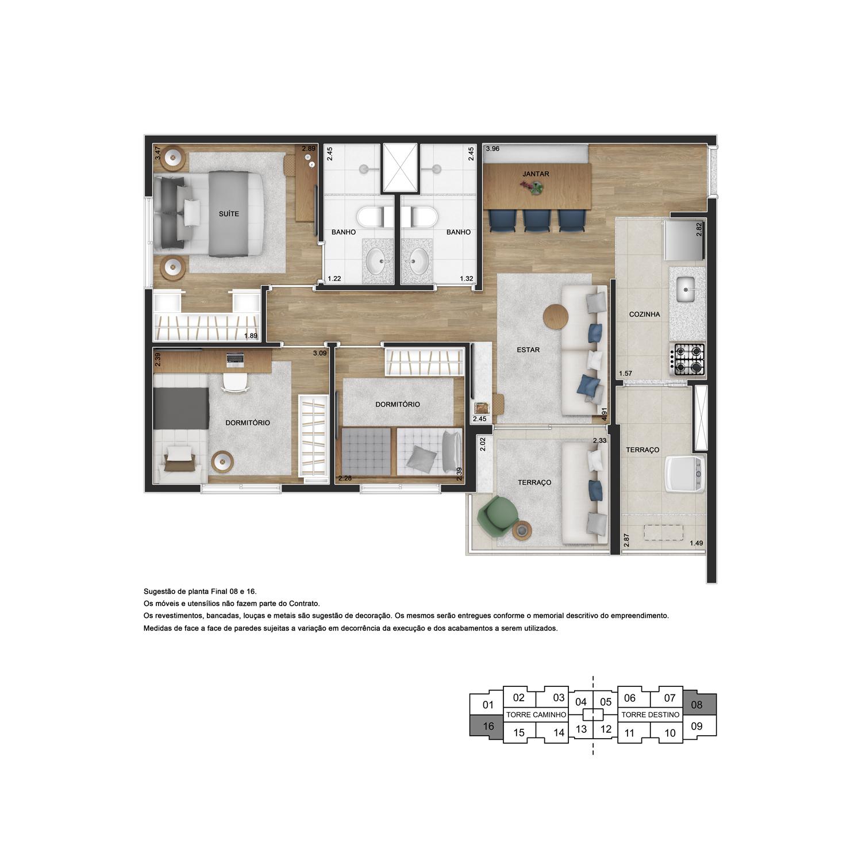 Planta de 66m² priv. com 3 dormitórios