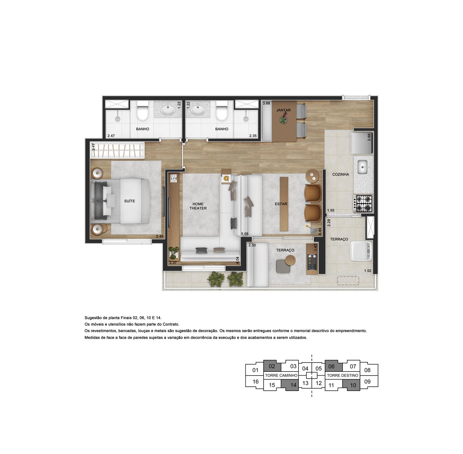 Planta de 55m² priv. com opção sala ampliada