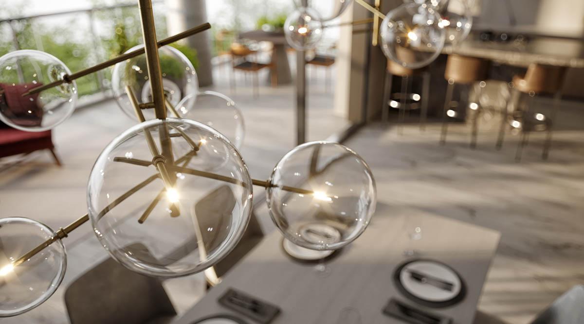 Perspectiva ilustrada do detalhe espaço gourmet