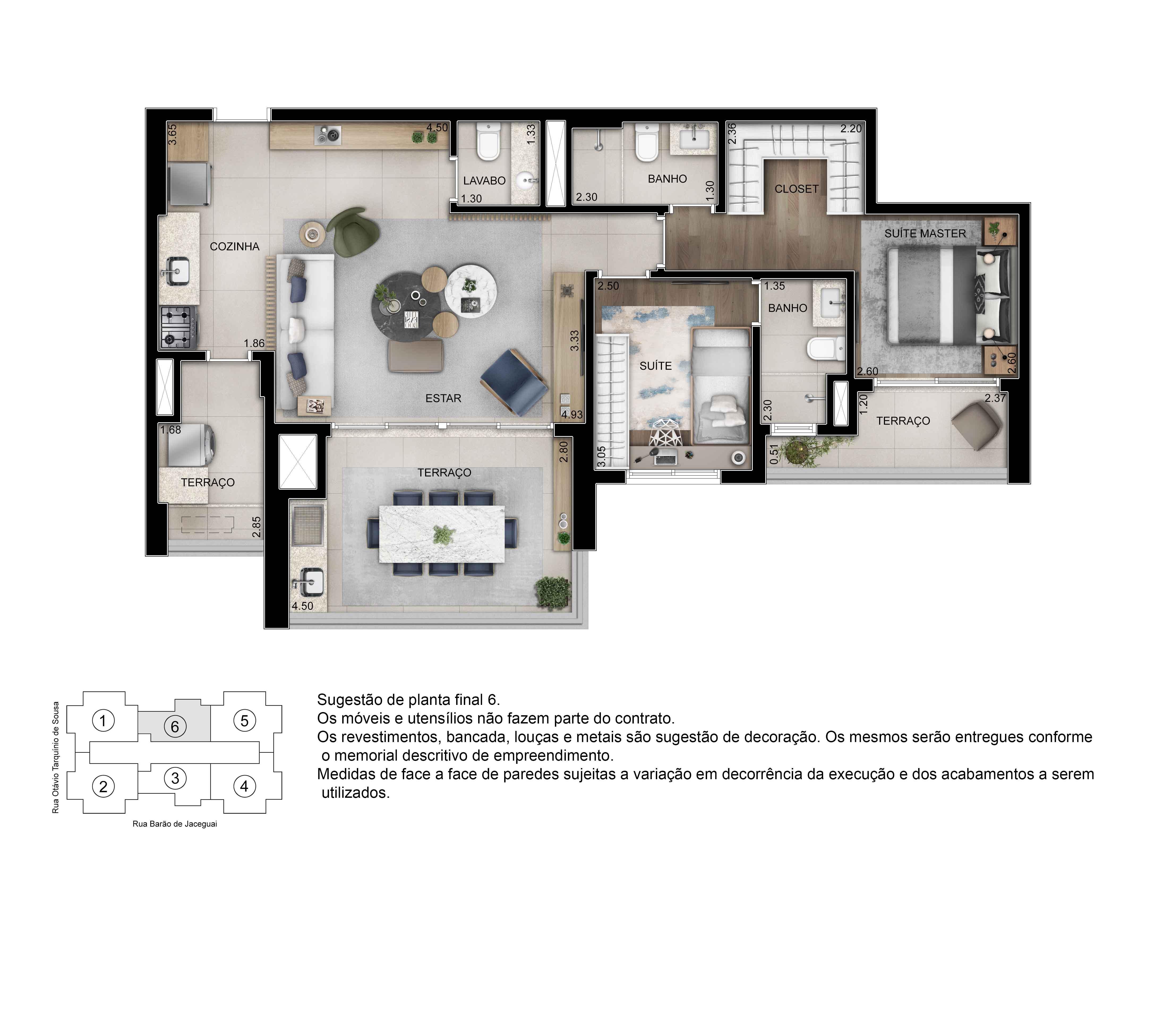 Planta de 93m² priv. com 2 suítes - opção sala ampliada