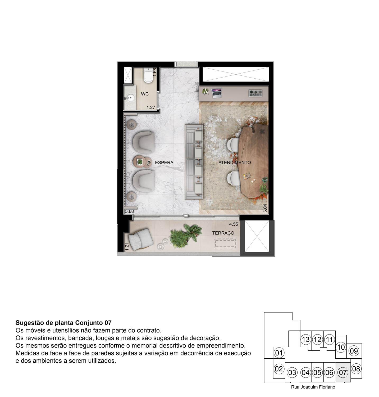 Perspectiva ilustrada Sala Comercial - 41m²
