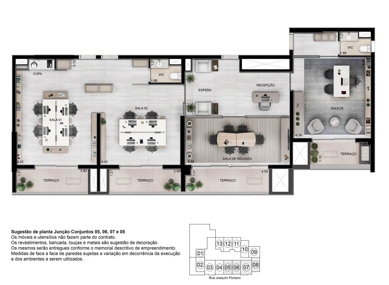 Perspectiva ilustrada Sala comercial junção - 143m²