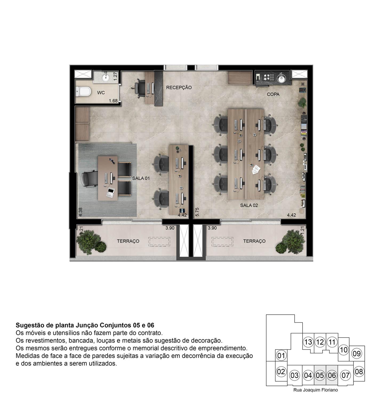 Perspectiva ilustrada Sala Comercial Junção - 69m²