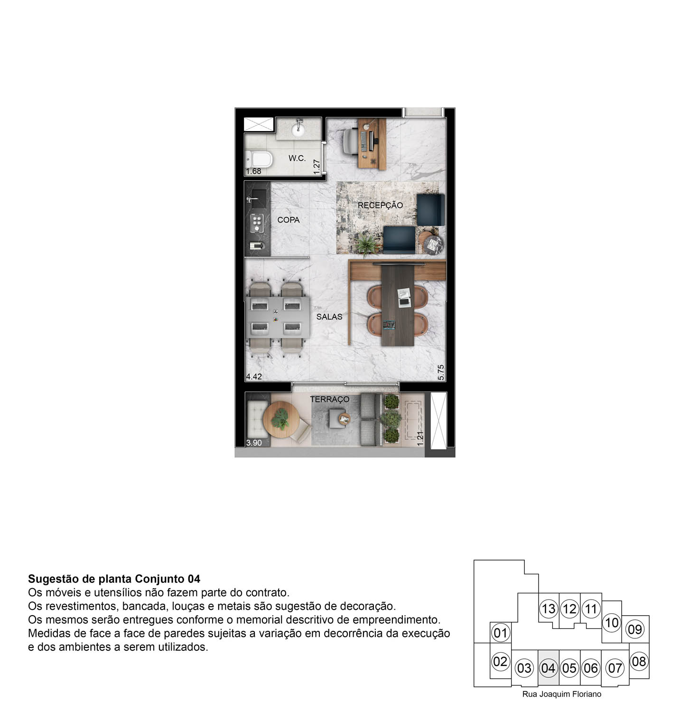 Perspectiva ilustrada Sala Comercial - 34m²