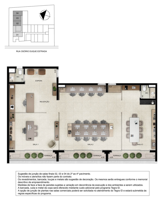 Planta opção junção de 3 salas comerciais - 139m²
