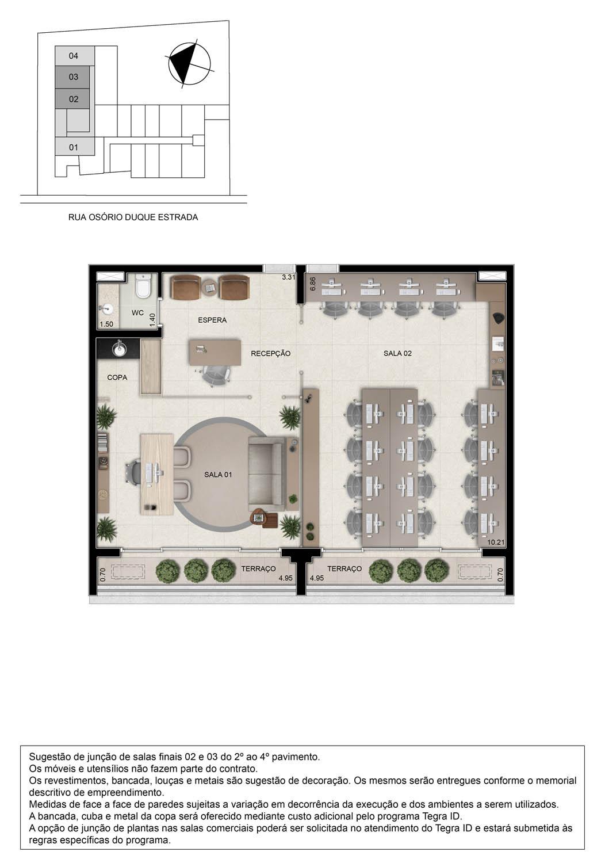 Planta opção junção de 2 salas comerciais - 86m²