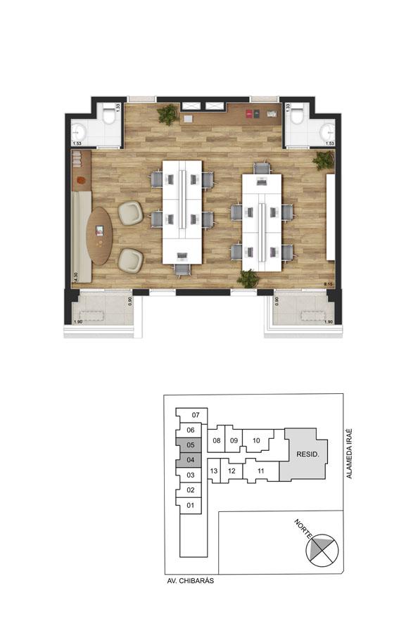 Planta sala junção - 56m²