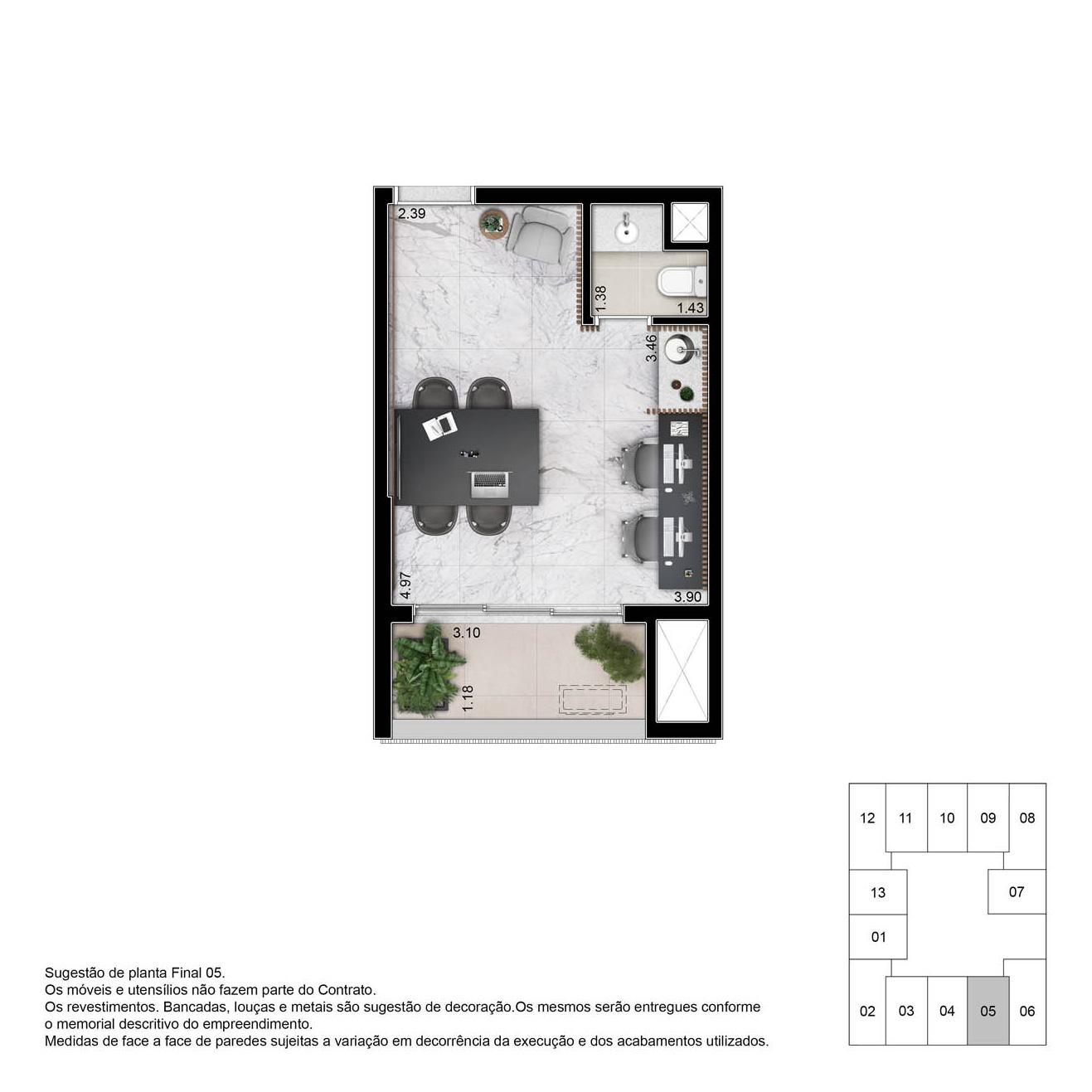 Planta sala comercial - 27m²