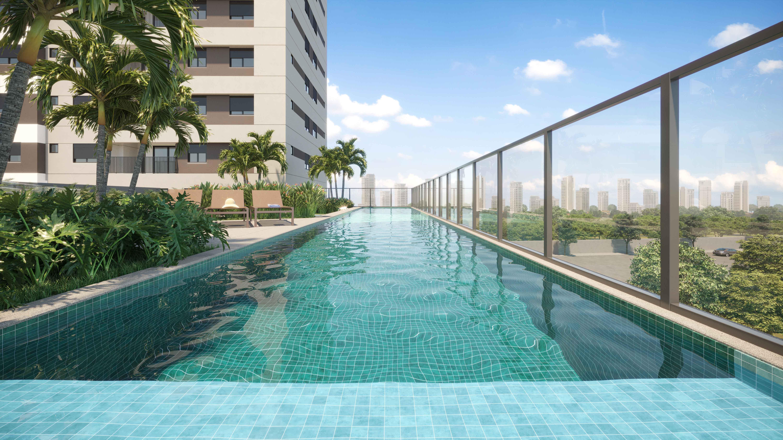 Perspectiva da piscina adulto com raia de 20m