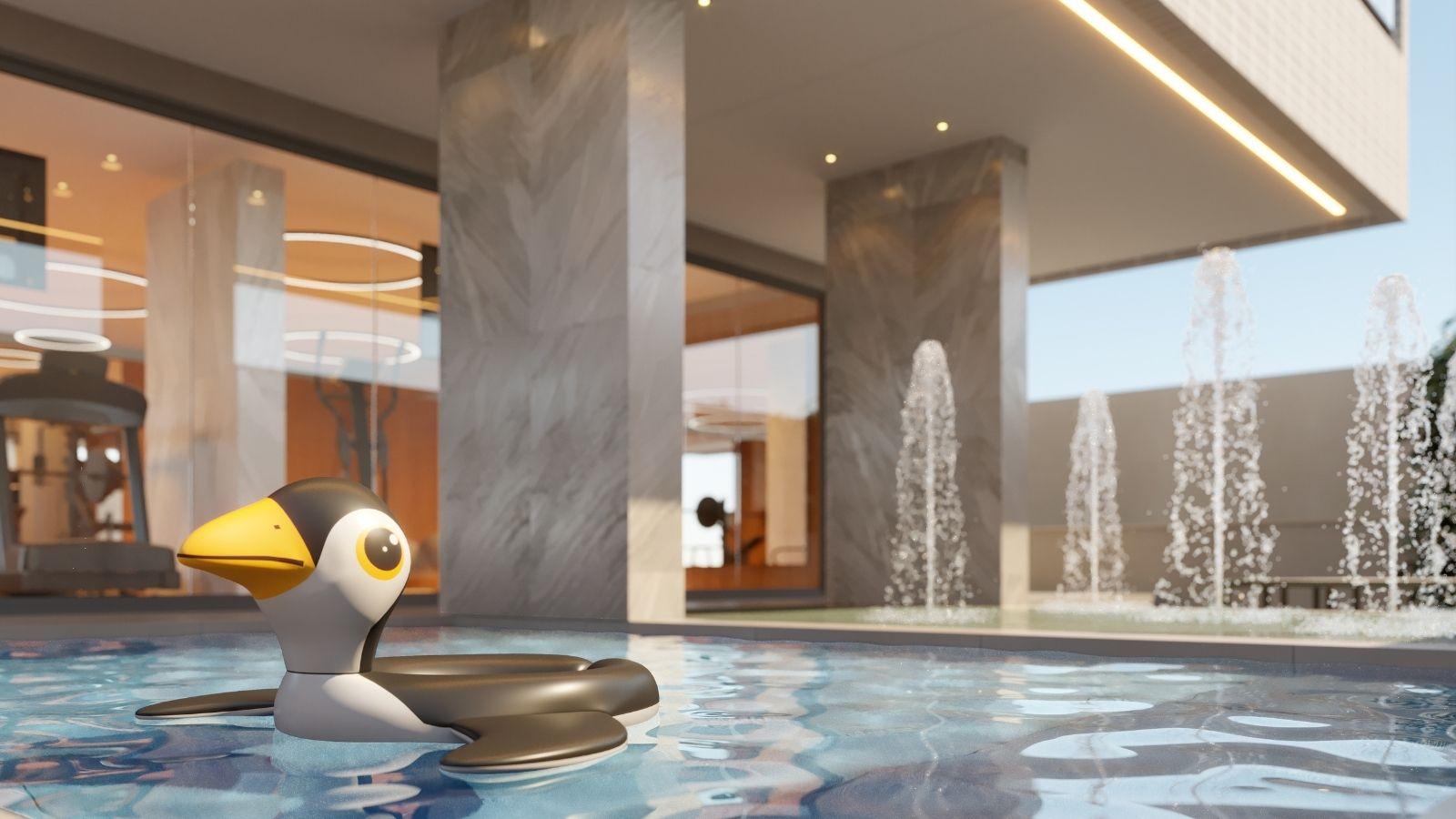 Perspectiva ilustrada da Área da piscina