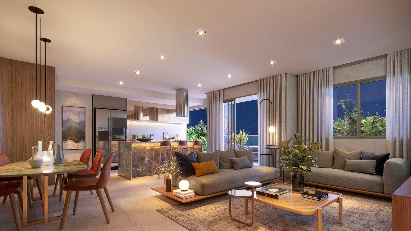 Perspectiva ilustrada do Apartamento decorado - Sala