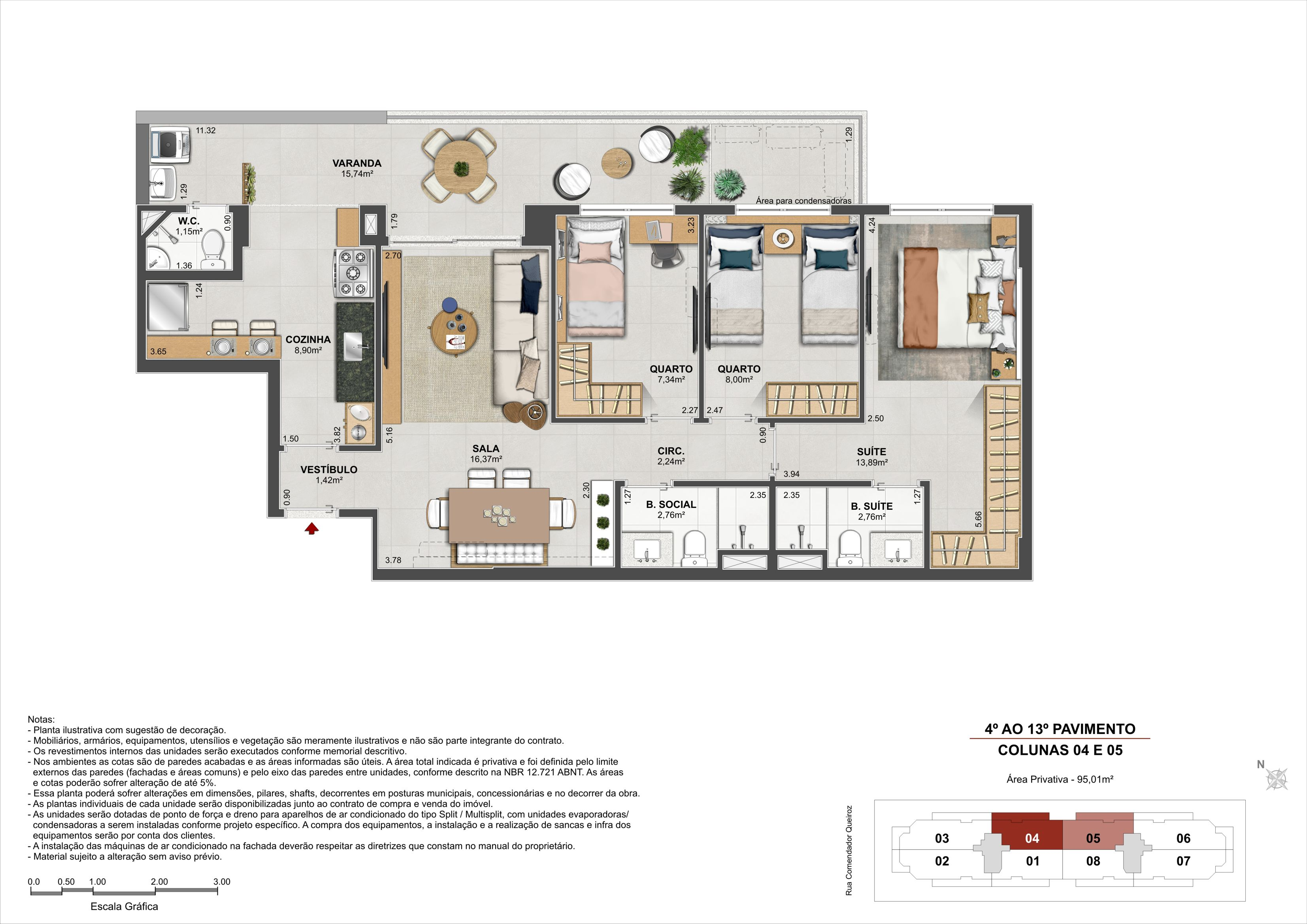 3 quartos - Área Privativa: 95,01m²