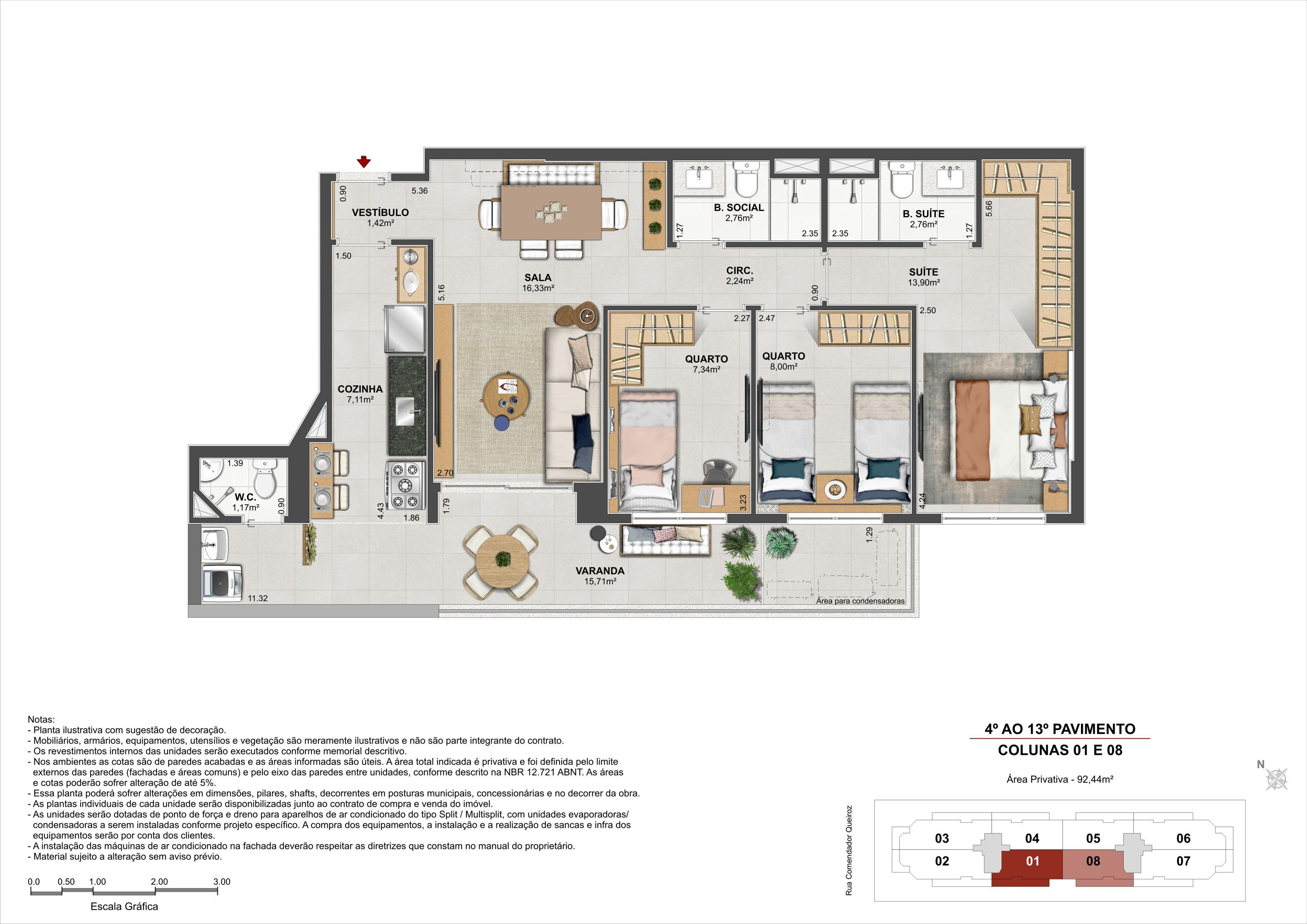 3 quartos - Área Privativa: 92,44m²